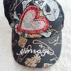 Skull Baseball Cap/Hat With Heart Vintage